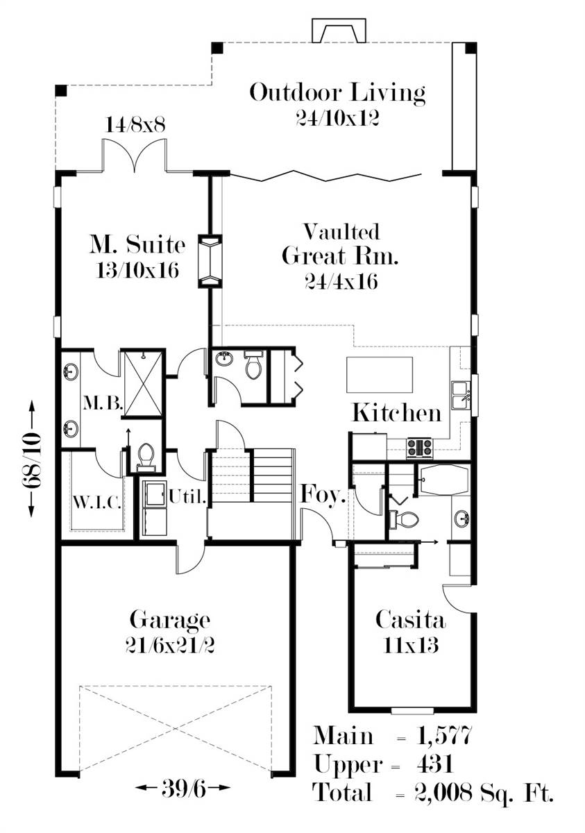 1st Floor Plan image of Featured House Plan: BHG - 7505