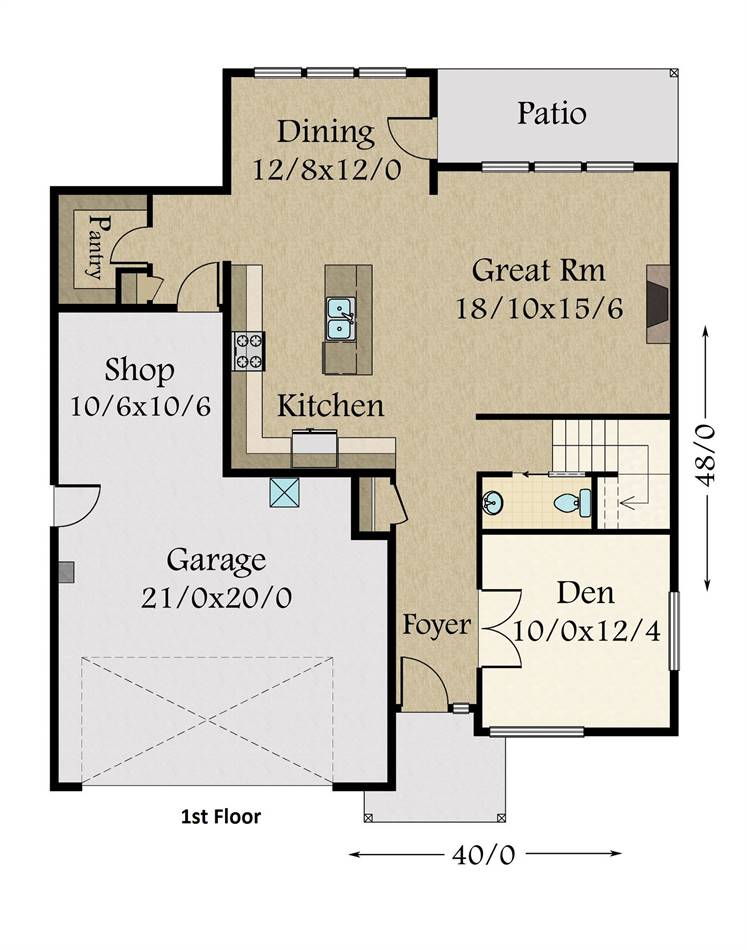 1st Floor Plan image of Featured House Plan: BHG - 3423