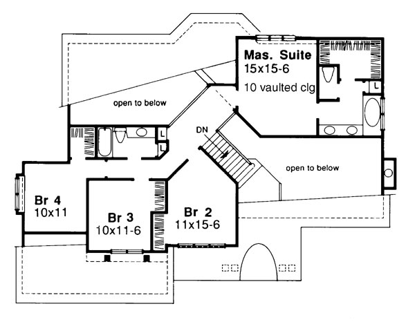 Upper Floor Plan image of Featured House Plan: BHG - 6212
