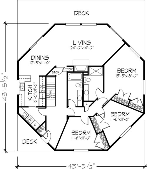 Main Floor Plan image of Featured House Plan: BHG - 6128