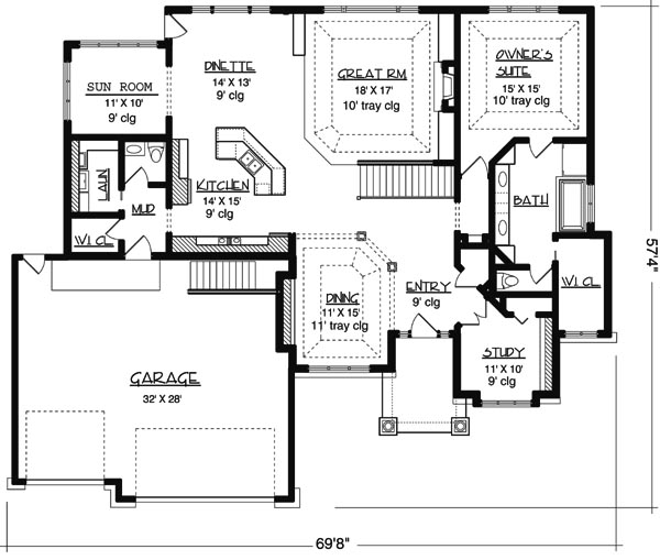 Main Floor Plan image of Featured House Plan: BHG - 6170