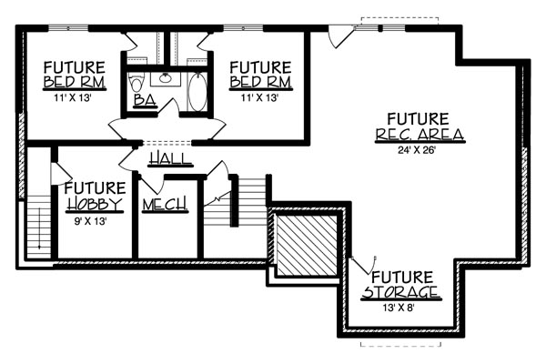 Basement image of Featured House Plan: BHG - 6173