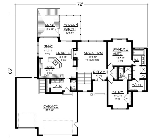 Main Floor Plan image of Featured House Plan: BHG - 6173