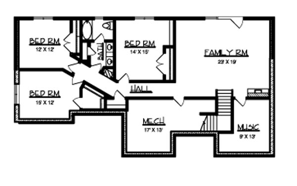 Basement image of Featured House Plan: BHG - 6174