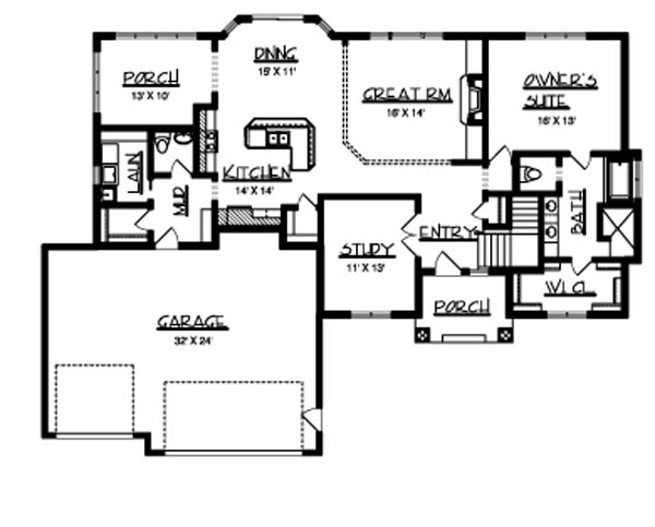 Main Floor Plan image of Featured House Plan: BHG - 6174