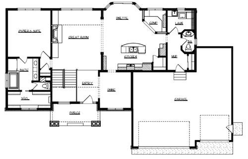 Main Floor Plan image of Featured House Plan: BHG - 1035