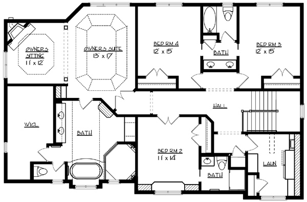 Upper Floor Plan image of Featured House Plan: BHG - 1577