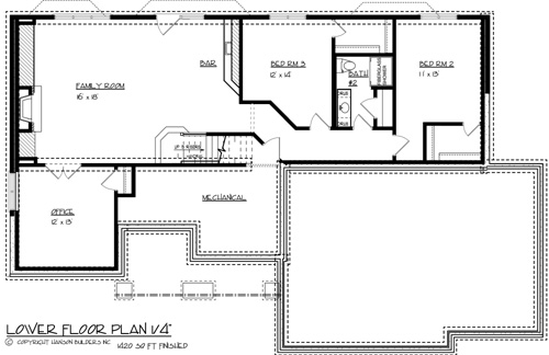 Lower Floor Plan image of Featured House Plan: BHG - 1705