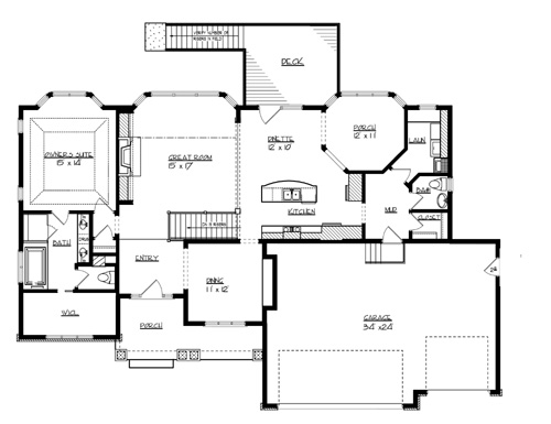 Main Floor Plan image of Featured House Plan: BHG - 1705