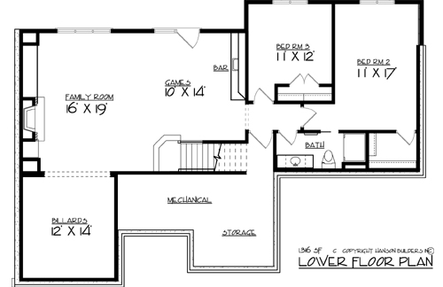 Lower Floor Plan image of Featured House Plan: BHG - 2257