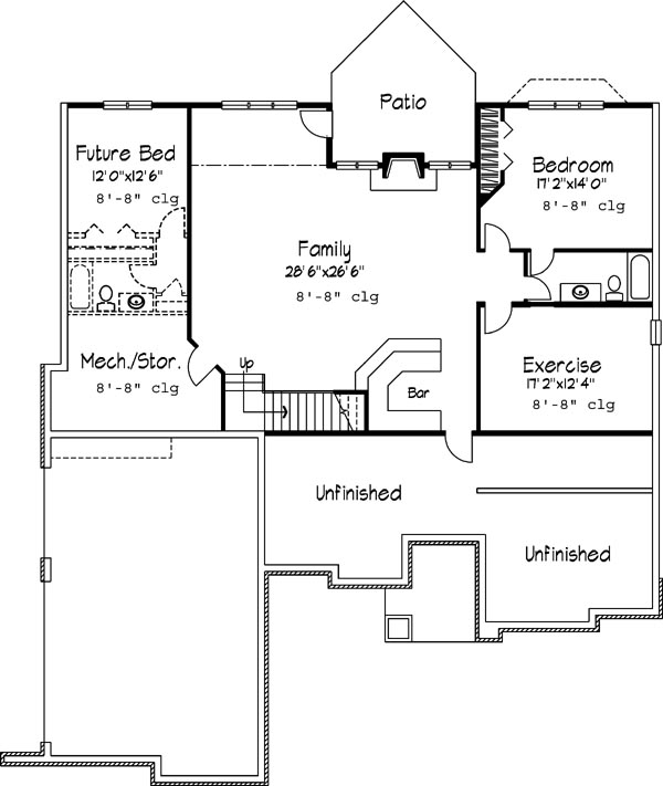 Basement image of Featured House Plan: BHG - 6226