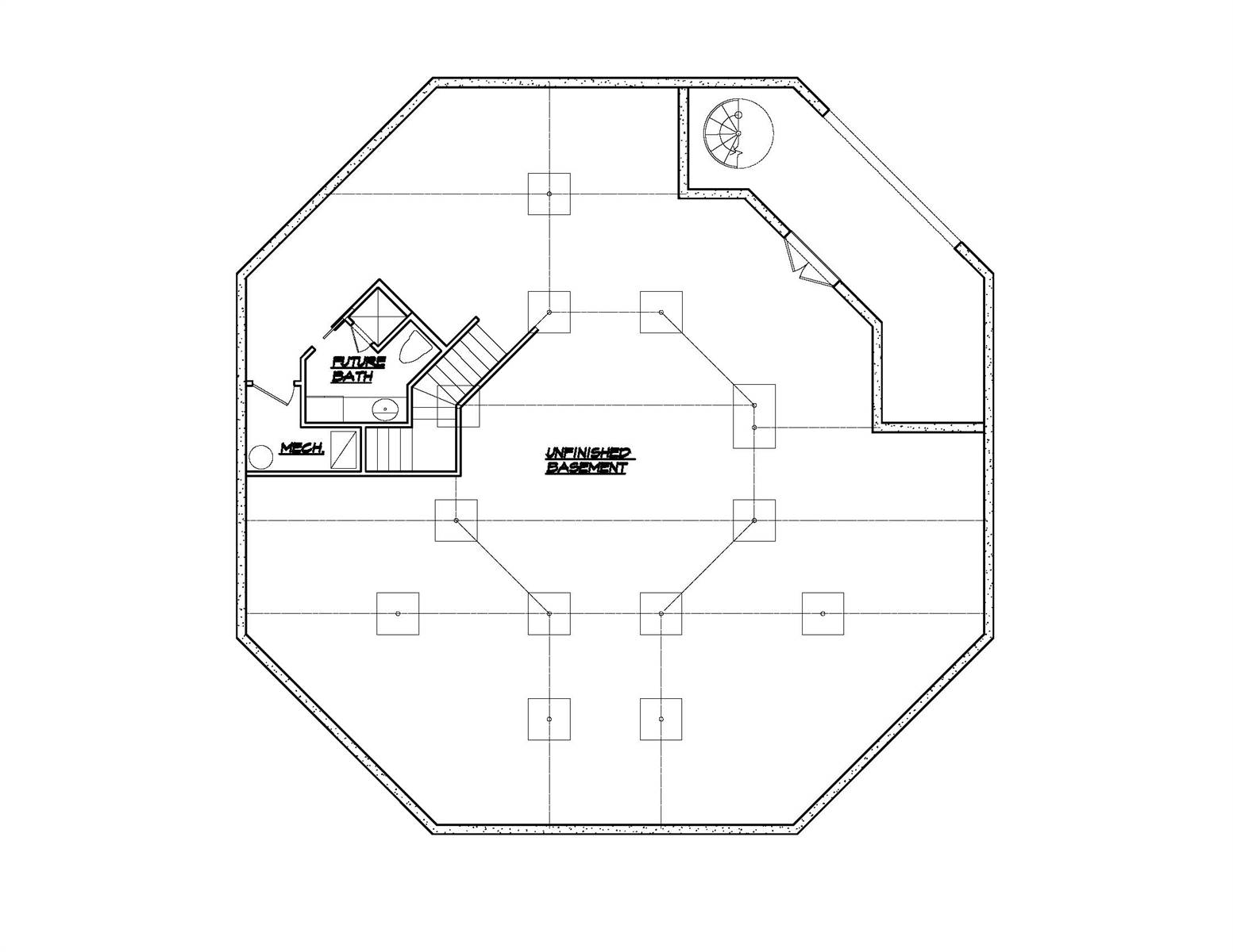 Lower Level Plan image of Unique Modern Octagon Style House Plan 8652: The Octagon