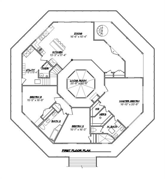 Main Floor Plan image of Unique Modern Octagon Style House Plan 8652: The Octagon