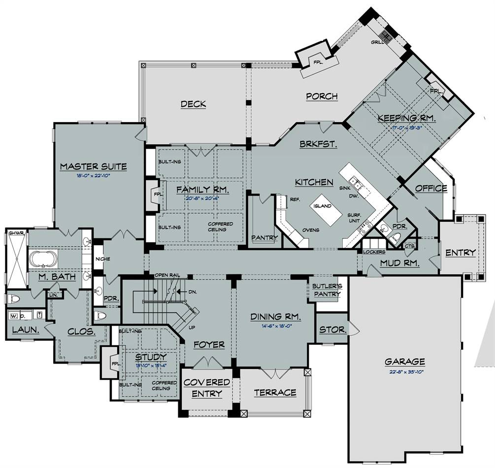 1st Floor Plan image of Featured House Plan: BHG - 2037