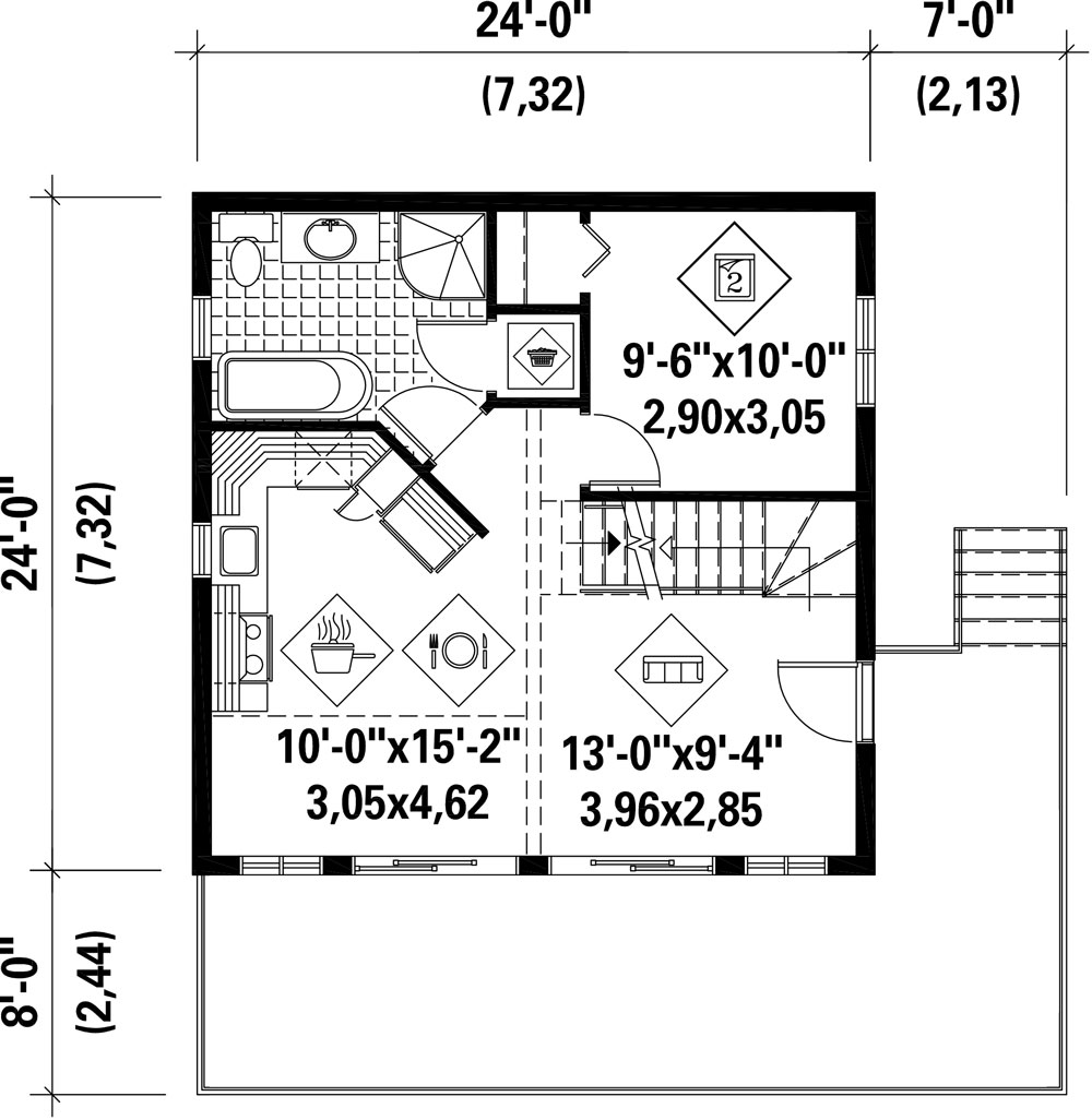 1st Floor Plan image of Featured House Plan: BHG - 9807