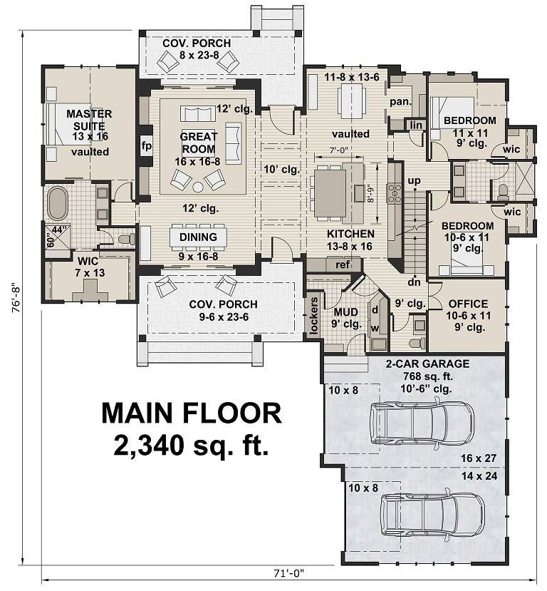 1st Floor Plan image of Featured House Plan: BHG - 6935