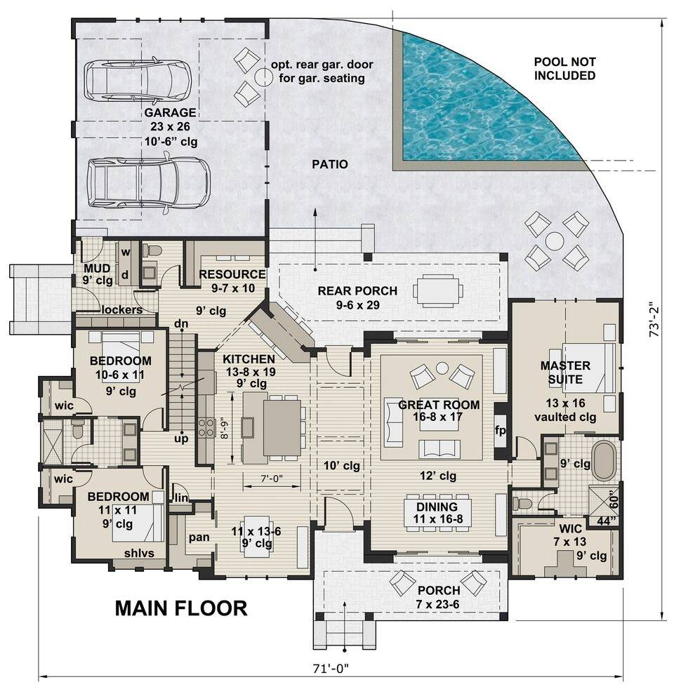 1st Floor Plan image of Featured House Plan: BHG - 6936