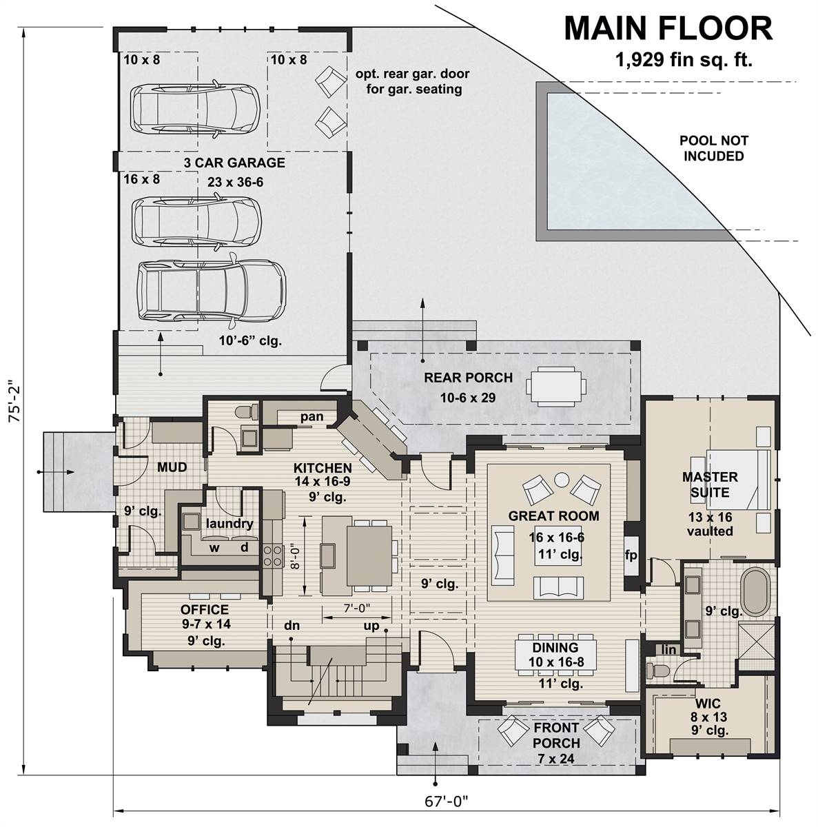 1st Floor Plan image of Featured House Plan: BHG - 7199