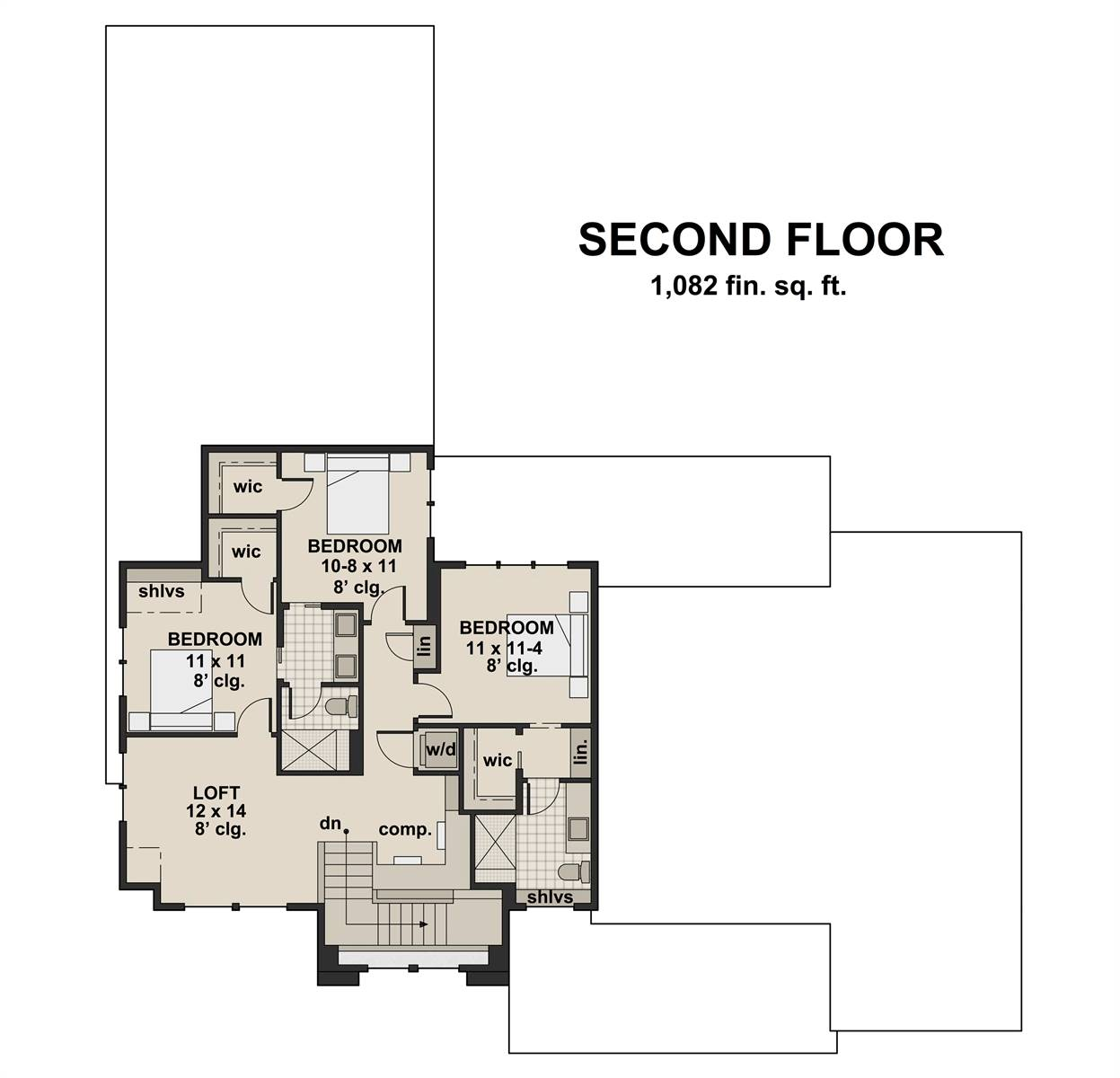 2nd Floor Plan image of Featured House Plan: BHG - 7199