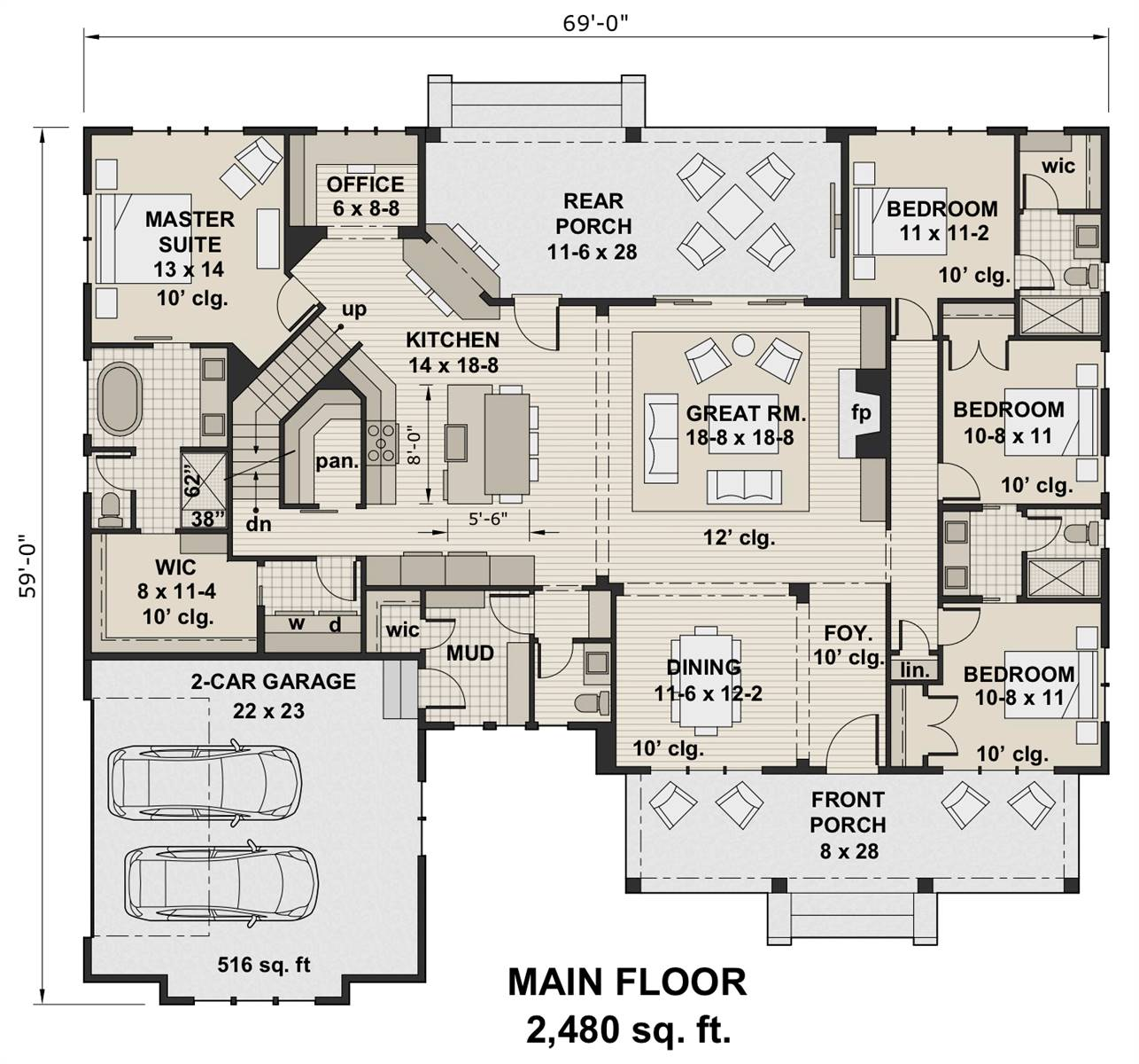 1st Floor Plan image of Featured House Plan: BHG - 7204