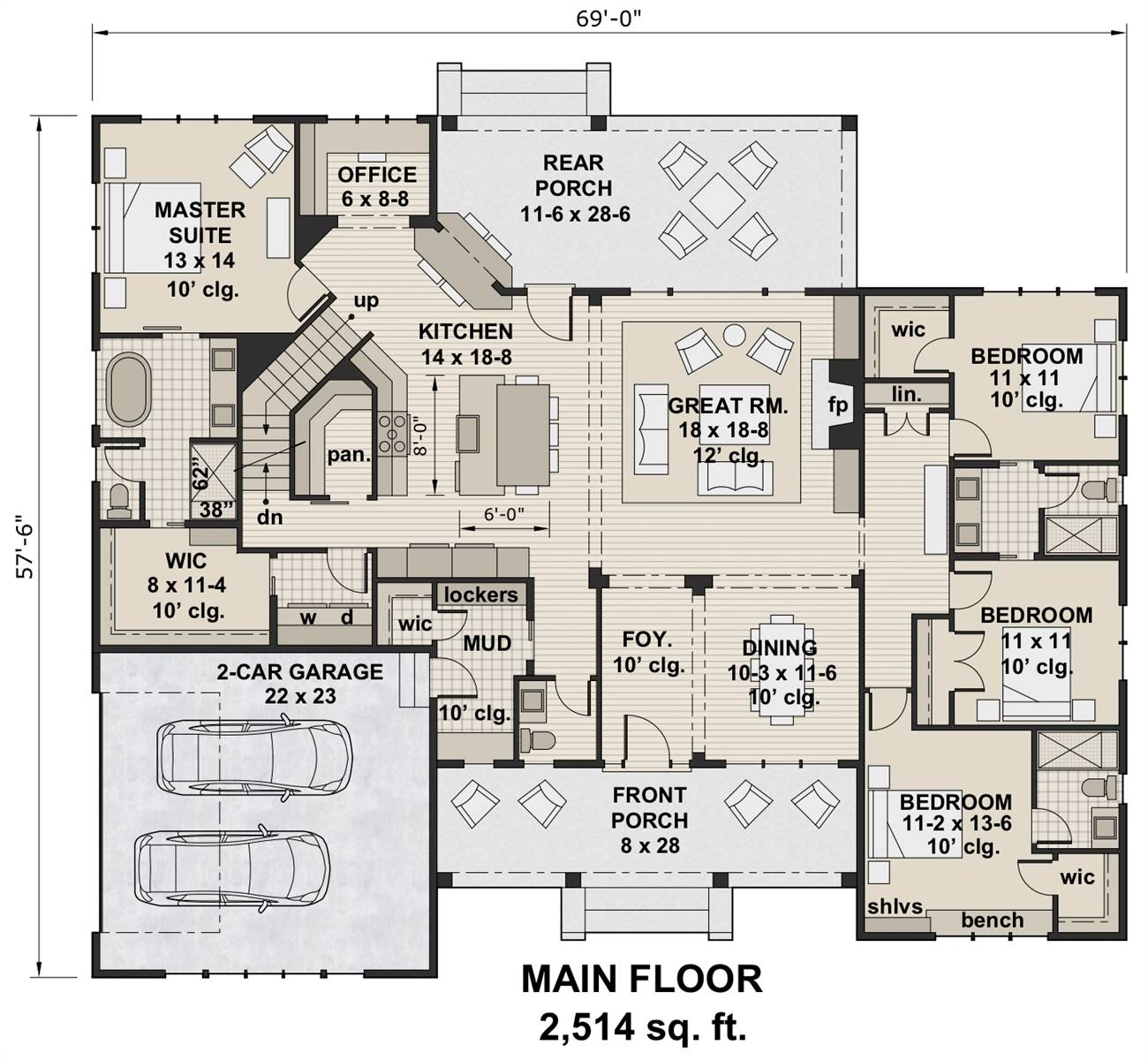 1st Floor Plan image of Featured House Plan: BHG - 7205