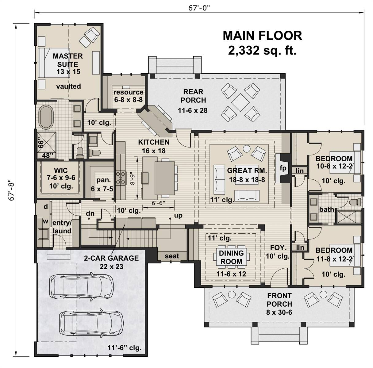 1st Floor Plan image of Featured House Plan: BHG - 7207