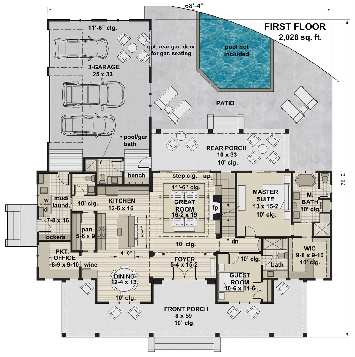 1st Floor Plan image of Featured House Plan: BHG - 7364