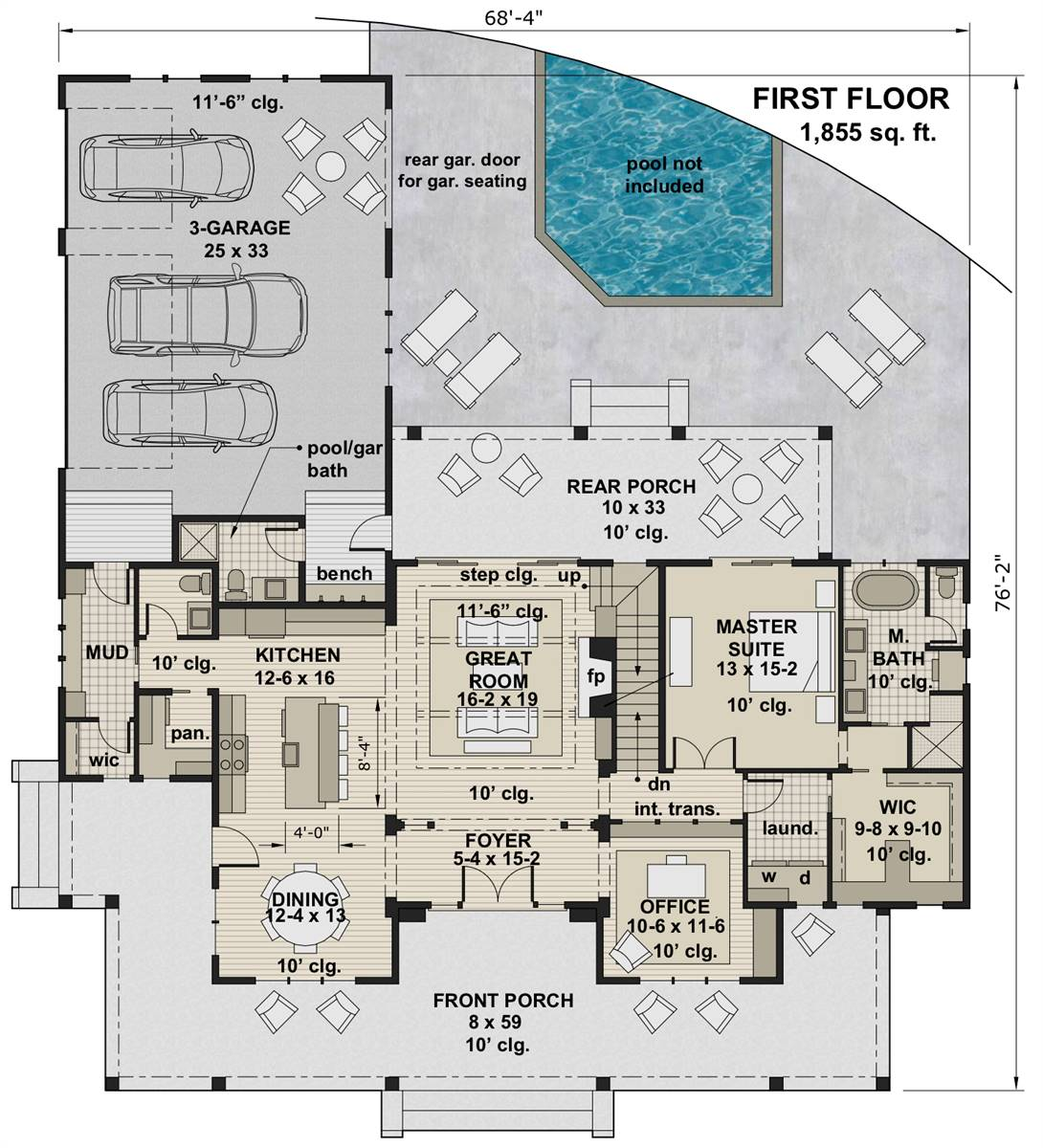 1st Floor Plan image of Featured House Plan: BHG - 7375