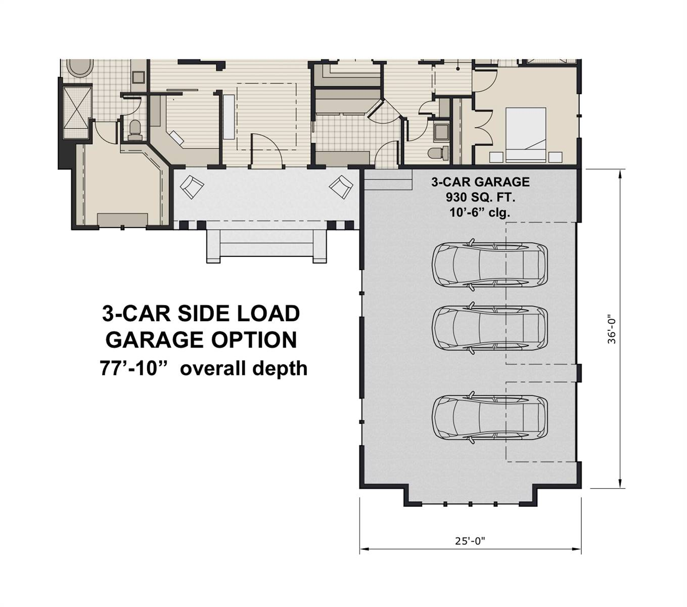 Side Load Garage Option image of Featured House Plan: BHG - 7438