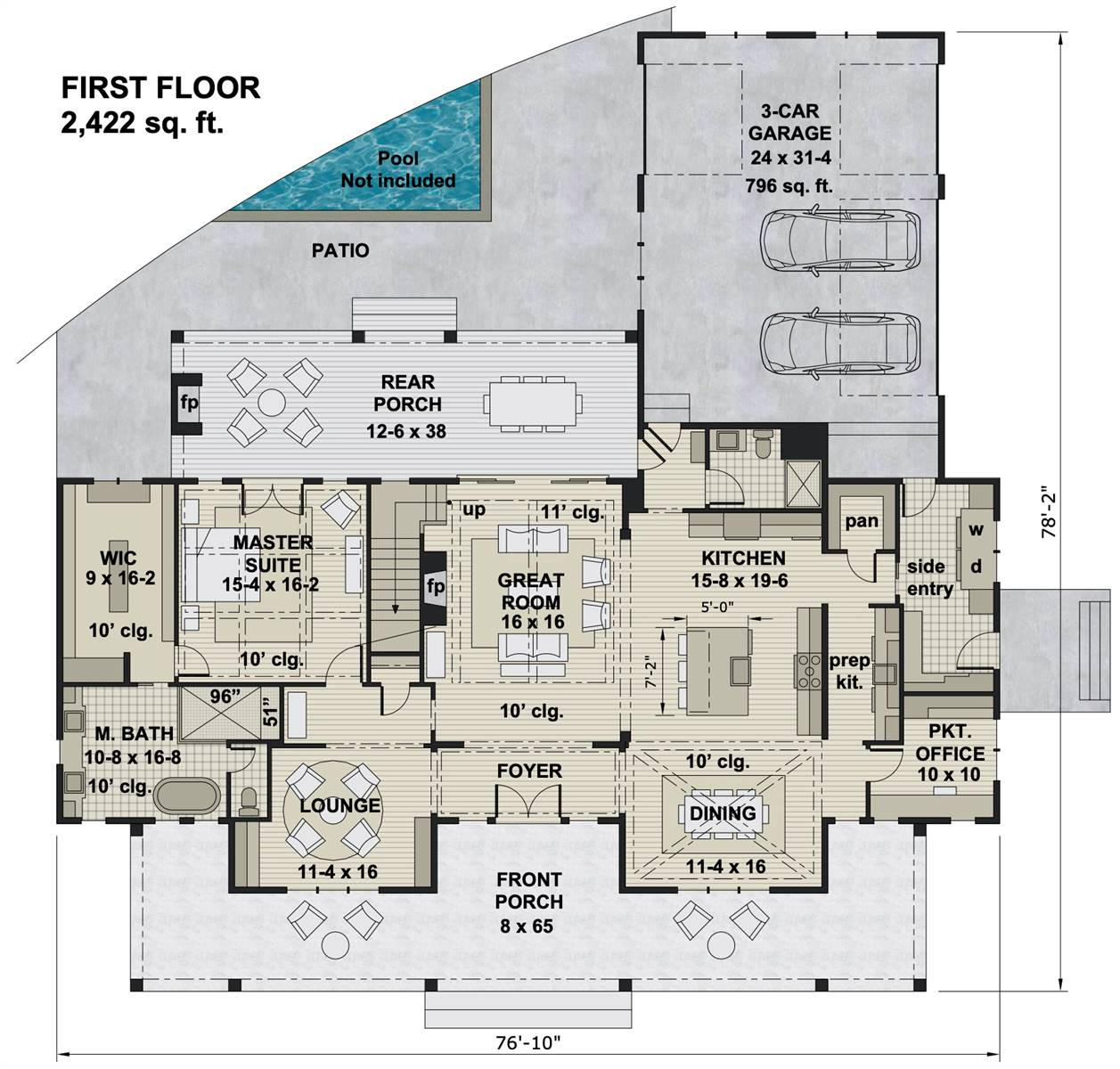 1st Floor image of Featured House Plan: BHG - 7876