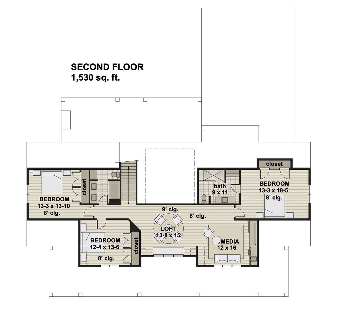 2nd Floor image of Featured House Plan: BHG - 7876