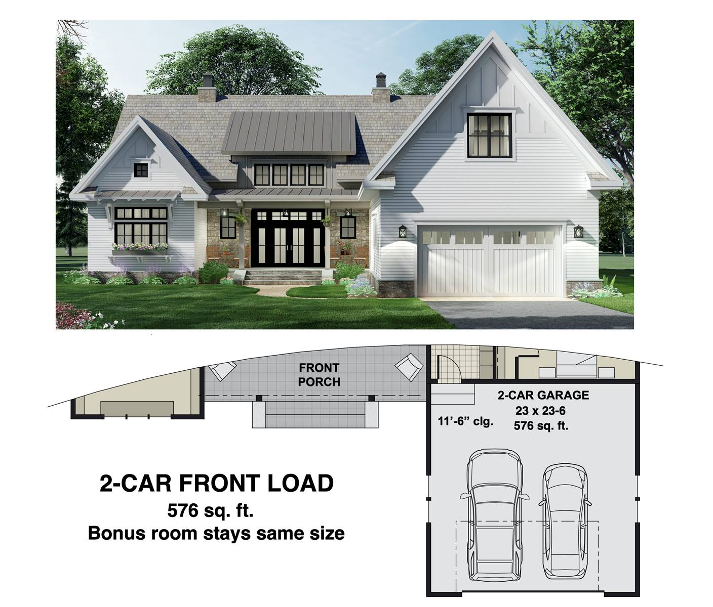 2-Car Front Entry Option image of Charming 3-Bedroom Farm House Style House Plan 8775