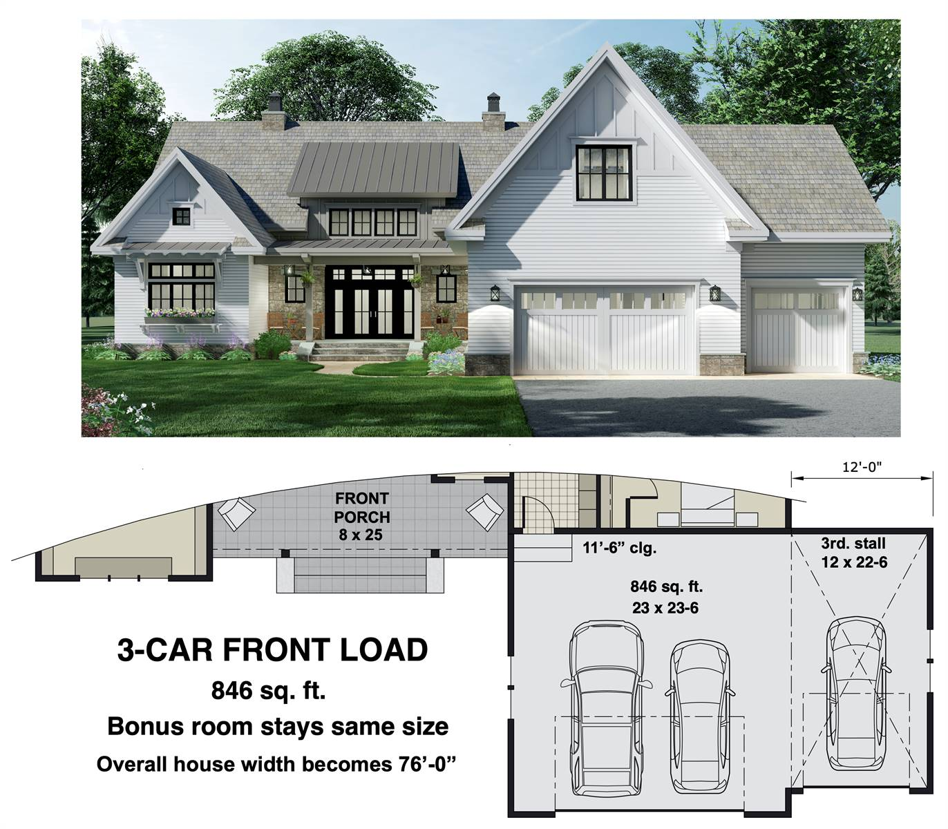 3-Car Front Entry Option image of Charming 3-Bedroom Farm House Style House Plan 8775