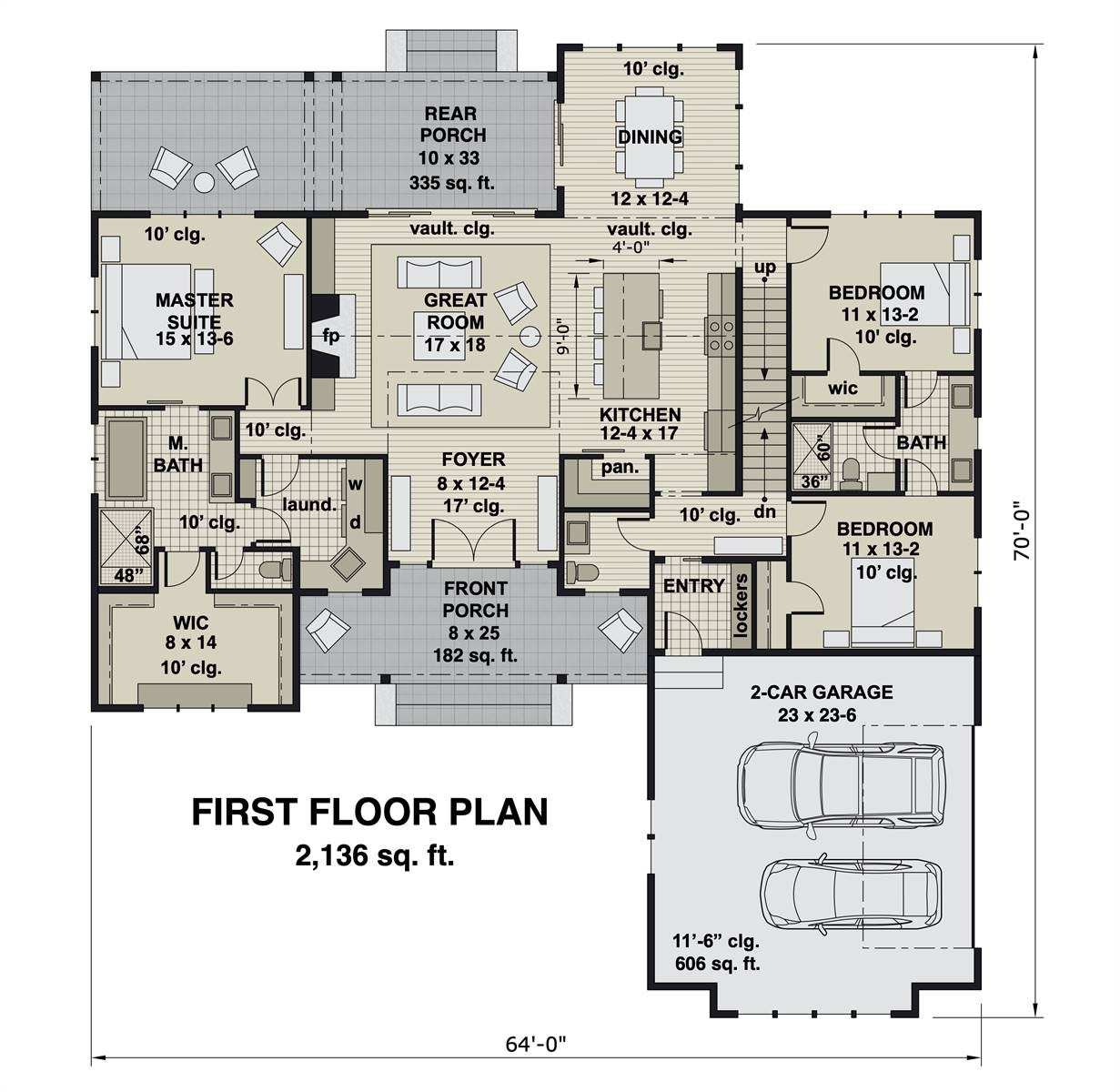 1st Floor image of Charming 3-Bedroom Farm House Style House Plan 8775