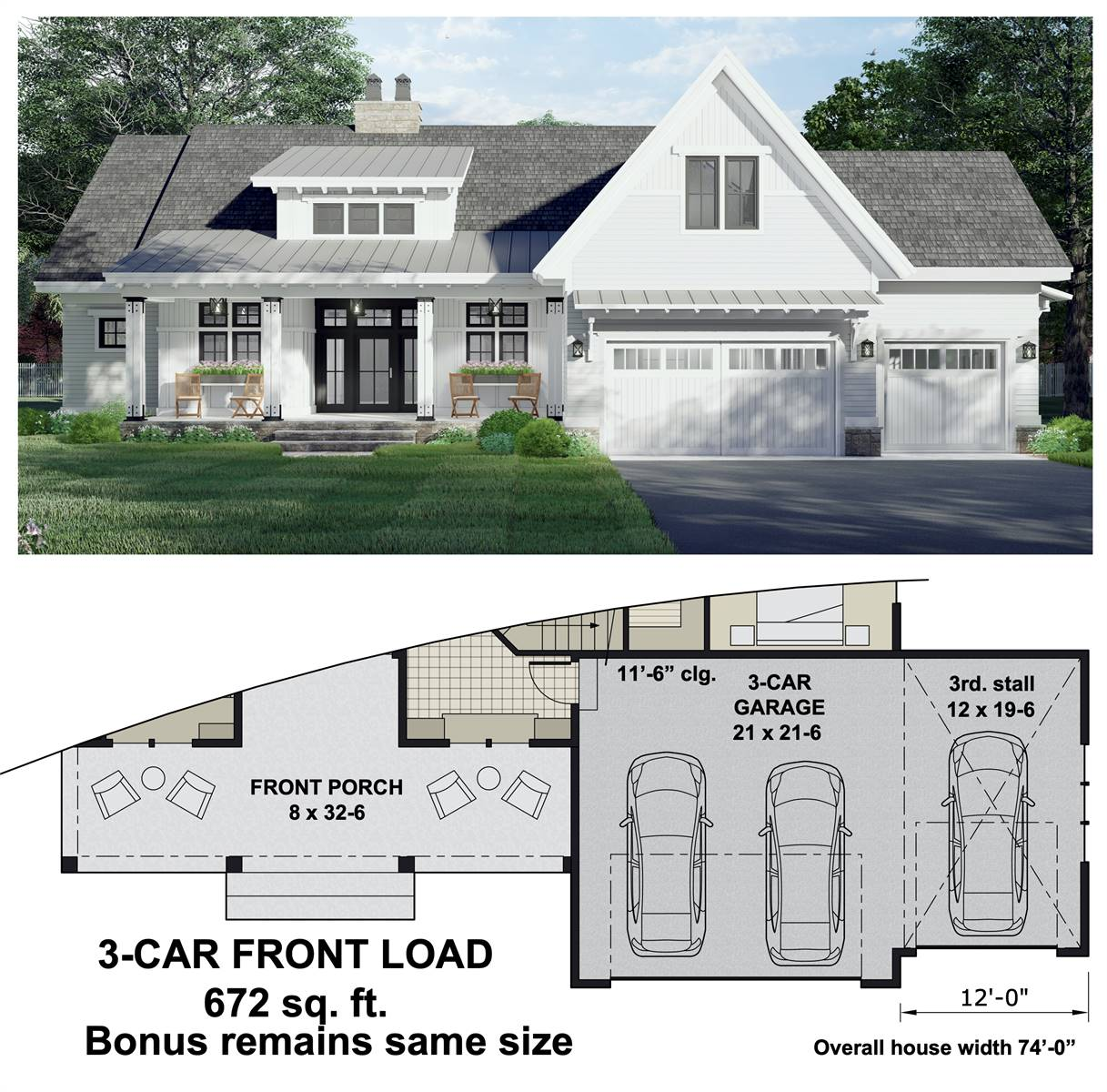 3-Car Front Entry Option image of Open Ranch Floor Plan Farm House Style House Plan 8776