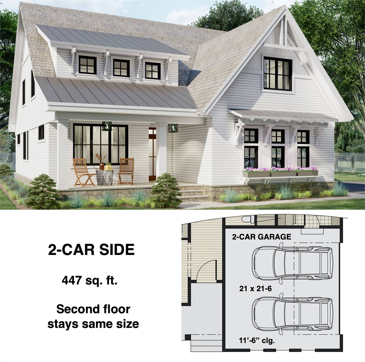 2-Car Side Entry Option image of Two Story Charming Cottage Style House Plan 8812