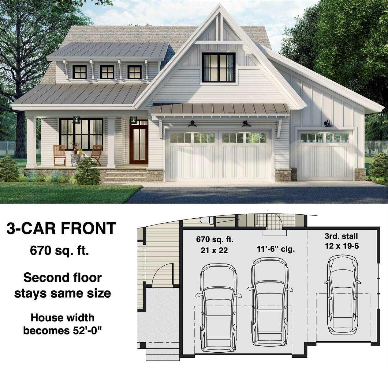 3-Car Front Entry Option image of Two Story Charming Cottage Style House Plan 8812