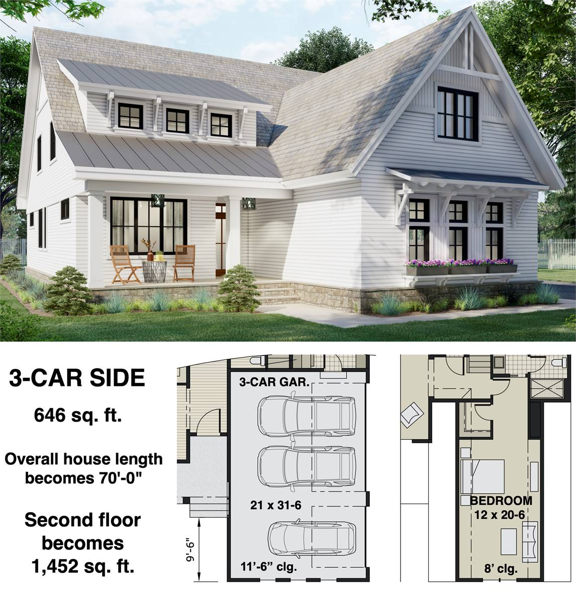 3-Car Side Entry Option image of Two Story Charming Cottage Style House Plan 8812