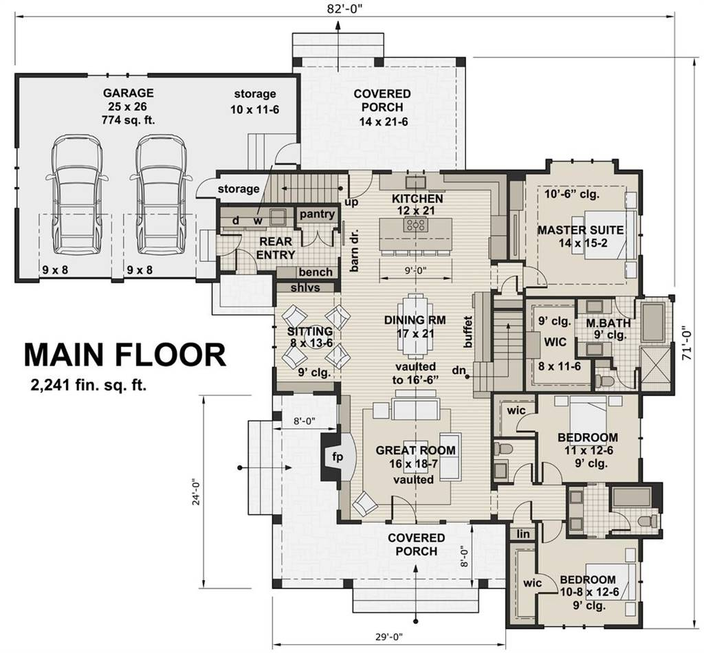1st Floor Plan image of Featured House Plan: BHG - 2447