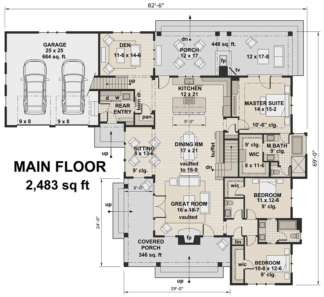 1st Floor Plan image of Featured House Plan: BHG - 3417