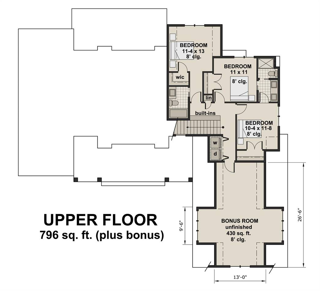 2nd Floor Plan image of Featured House Plan: BHG - 3030