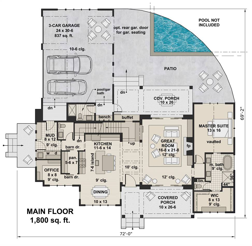 1st Floor Plan image of Featured House Plan: BHG - 3404