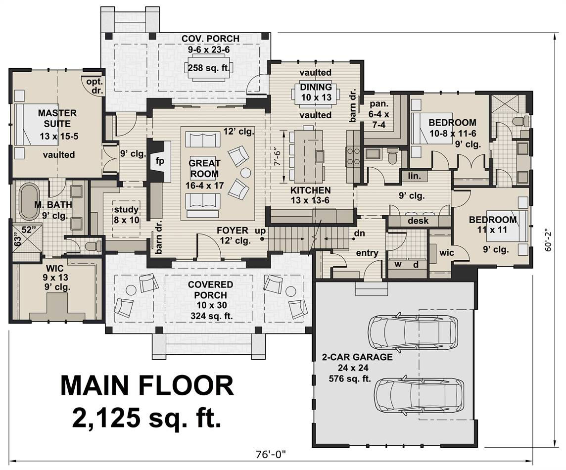 1st Floor Plan image of Featured House Plan: BHG - 3419