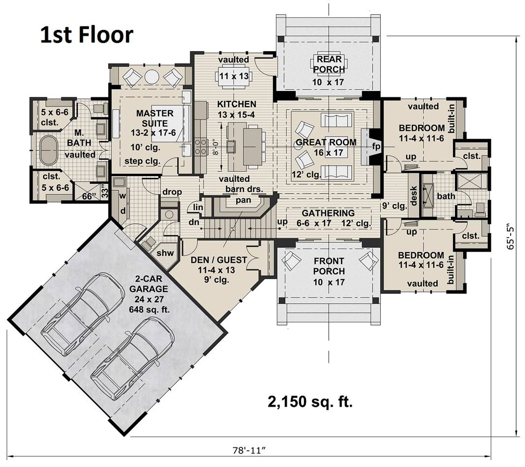 1st Floor Plan image of Featured House Plan: BHG - 4303