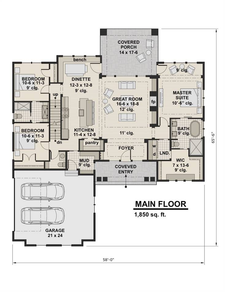 1st Floor Plan image of Featured House Plan: BHG - 2003