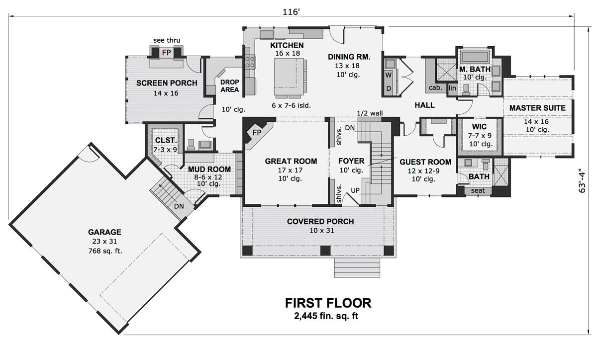 1st Floor Plan image of Featured House Plan: BHG - 1991