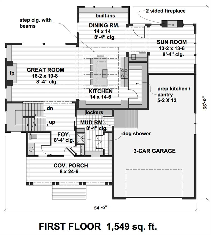 1st Floor Plan image of Featured House Plan: BHG - 2001