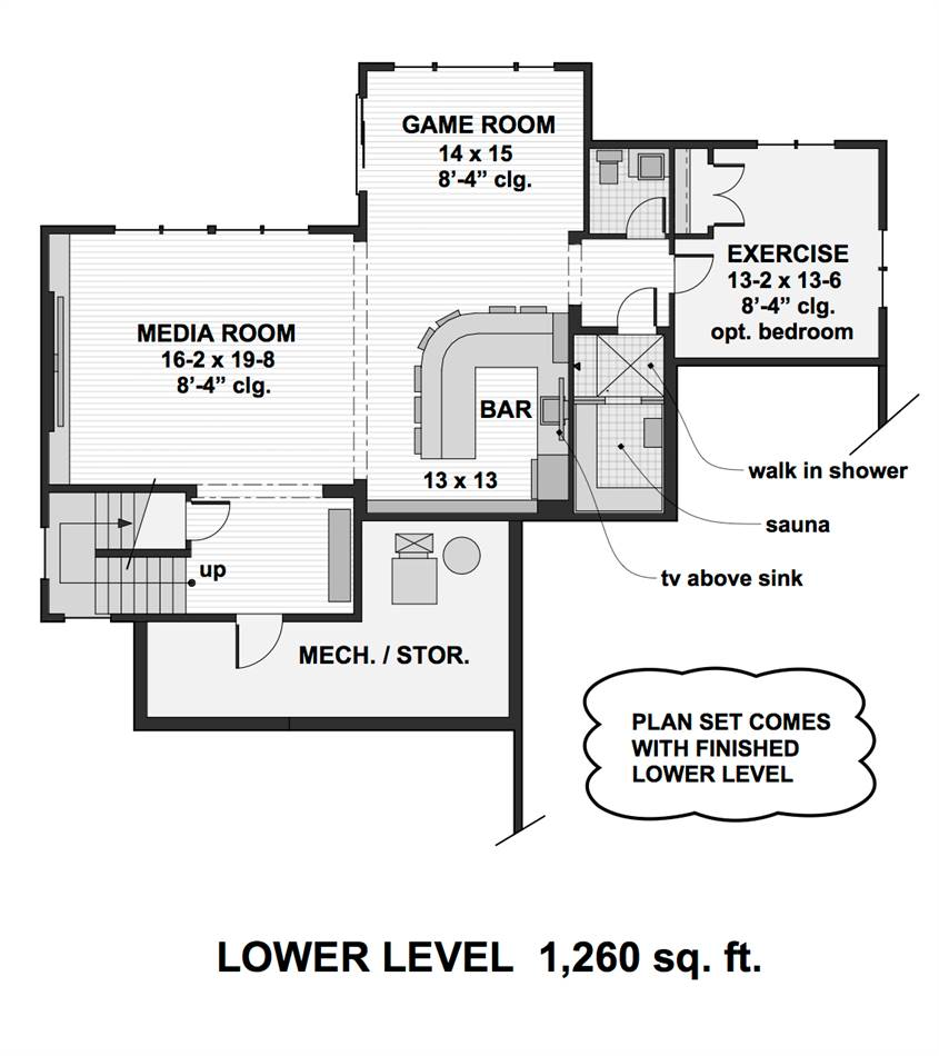 Lower Level Floor Plan image of Featured House Plan: BHG - 2001