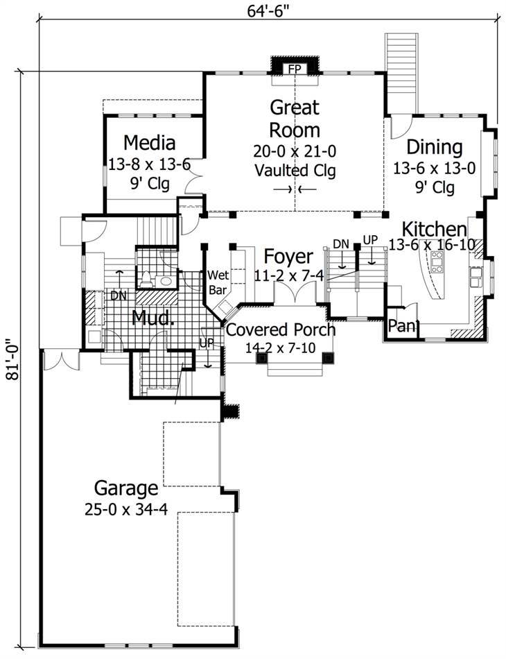 1st Floor Plan image of Featured House Plan: BHG - 1995