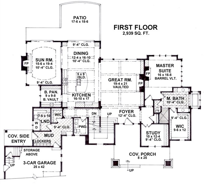 1st Floor Plan image of Featured House Plan: BHG - 1936